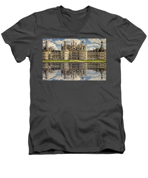 Men's V-Neck T-Shirt featuring the photograph Castle Chambord by Heiko Koehrer-Wagner