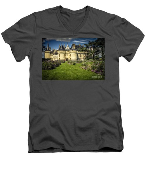 Men's V-Neck T-Shirt featuring the photograph Castle Chaumont With Garden by Heiko Koehrer-Wagner