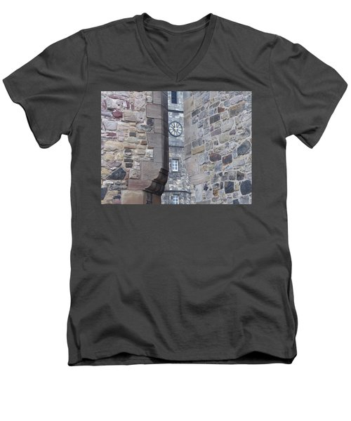 Castle Clock Through Walls Men's V-Neck T-Shirt by Margaret Brooks