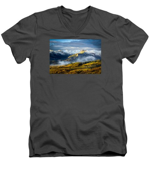 Men's V-Neck T-Shirt featuring the photograph Castle In The Clouds by Phyllis Peterson