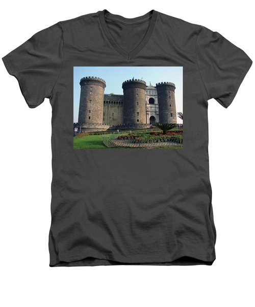 Castle Nuovo Naples Italy Men's V-Neck T-Shirt