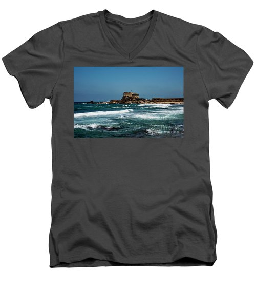Men's V-Neck T-Shirt featuring the photograph Castle Of Herod The Great by Mae Wertz