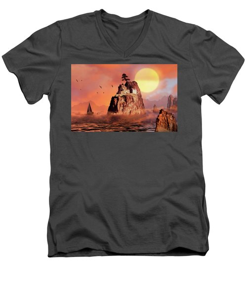 Castle On Seastack Men's V-Neck T-Shirt