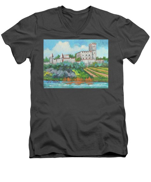 Men's V-Neck T-Shirt featuring the painting Castle On The Upper Rhine River by Diane McClary