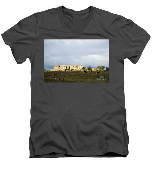 Men's V-Neck T-Shirt featuring the photograph Castle Ruin In Spotlight by Kennerth and Birgitta Kullman