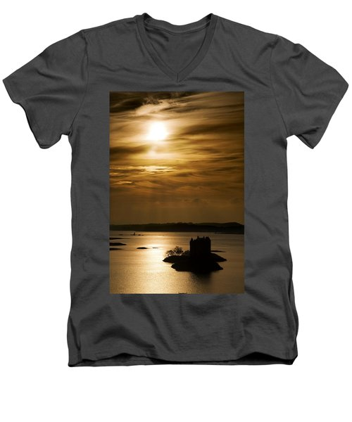 Castle Stalker At Sunset, Loch Laich Men's V-Neck T-Shirt