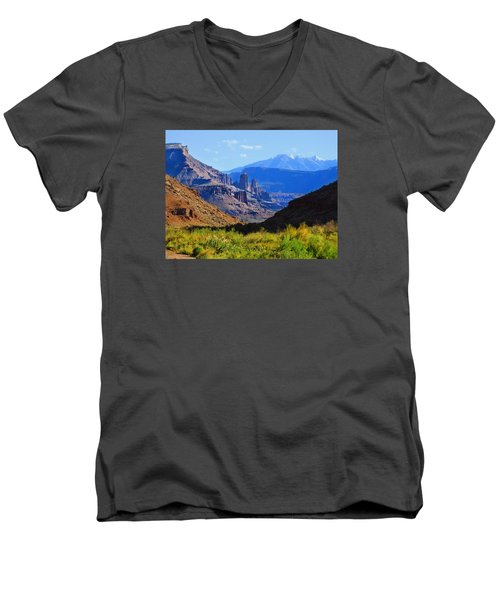Castle Valley Men's V-Neck T-Shirt by Laura Ragland