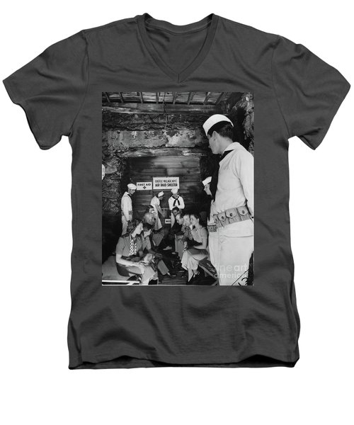 Men's V-Neck T-Shirt featuring the photograph Castle Village Air Raid Shelter by Cole Thompson
