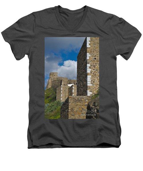 Castle Wall In Alentejo Portugal Men's V-Neck T-Shirt