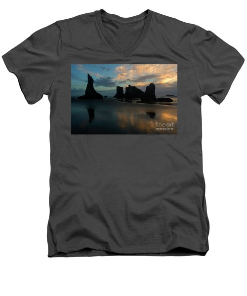 Men's V-Neck T-Shirt featuring the photograph Castles In The Sand by Mike Dawson