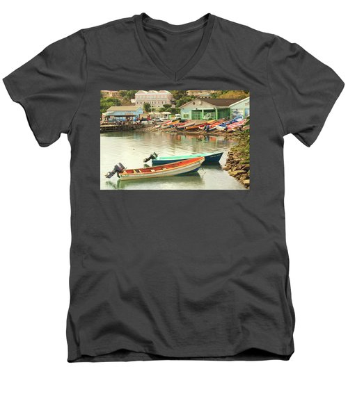 Men's V-Neck T-Shirt featuring the photograph Castries Harbor Waterfront by Roupen  Baker