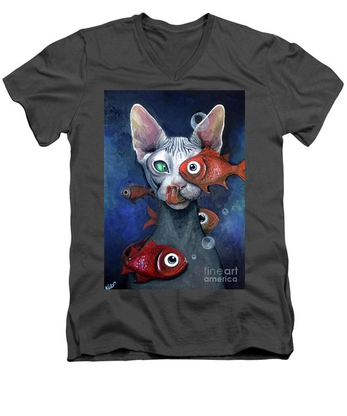 Cat And Fish Men's V-Neck T-Shirt