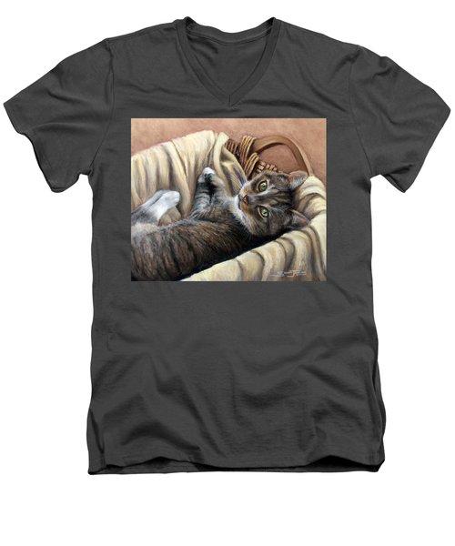 Cat In A Basket Men's V-Neck T-Shirt