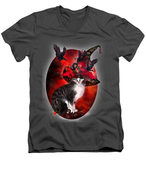Men's V-Neck T-Shirt featuring the mixed media Cat In Fancy Witch Hat 1 by Carol Cavalaris