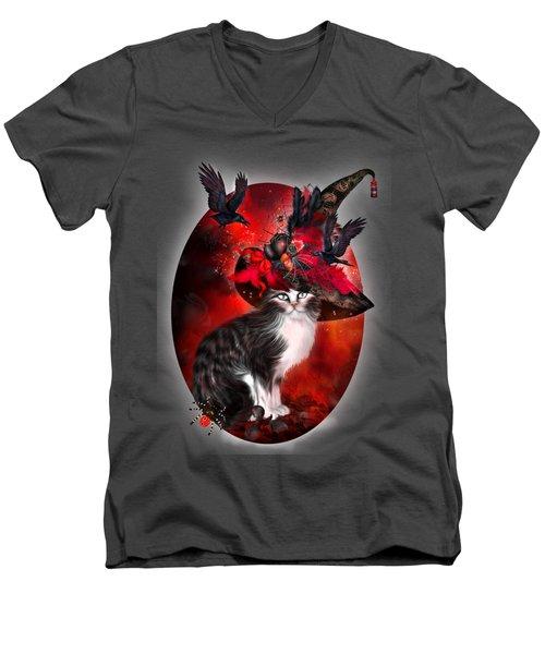 Cat In Fancy Witch Hat 1 Men's V-Neck T-Shirt