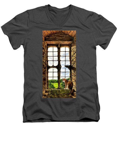 Cat In The Castle Window Men's V-Neck T-Shirt