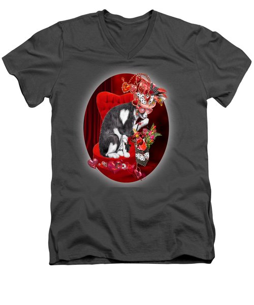 Cat In The Valentine Steam Punk Hat Men's V-Neck T-Shirt