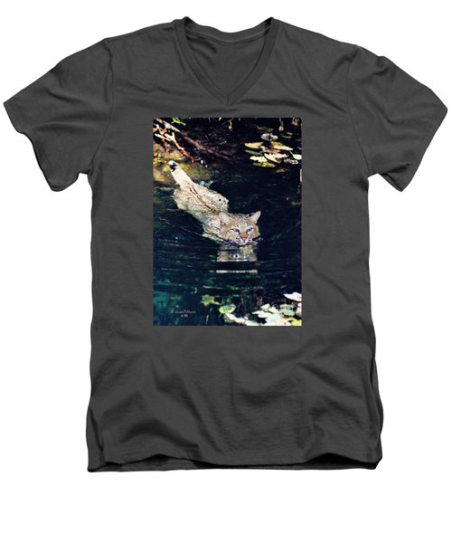 Cat In The Water Men's V-Neck T-Shirt by Ansel Price