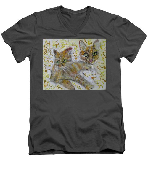 Cat Named Phoenicia Men's V-Neck T-Shirt by AJ Brown