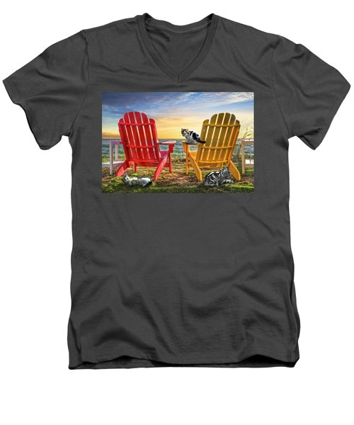 Men's V-Neck T-Shirt featuring the photograph Cat Nap At The Beach by Debra and Dave Vanderlaan