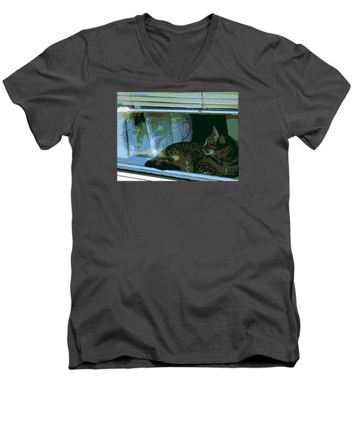 Cat Observing From Window Men's V-Neck T-Shirt by John Rossman