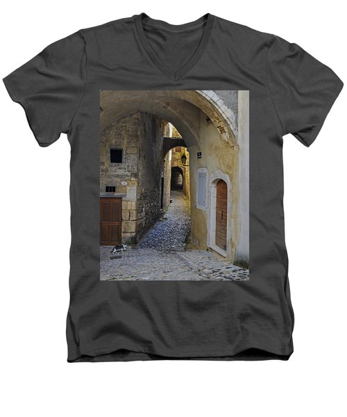 Men's V-Neck T-Shirt featuring the photograph Cat On A Quiet Street In Viviers by Allen Sheffield