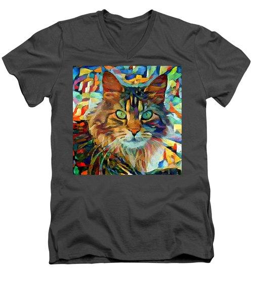 Cat On Colors Men's V-Neck T-Shirt