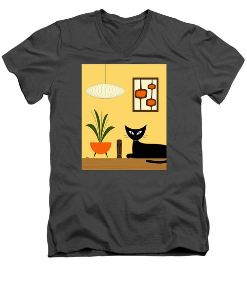 Cat On Tabletop With Mini Mod Pods 3 Men's V-Neck T-Shirt