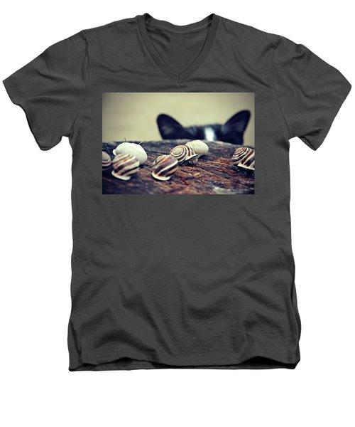 Cat Snails Men's V-Neck T-Shirt