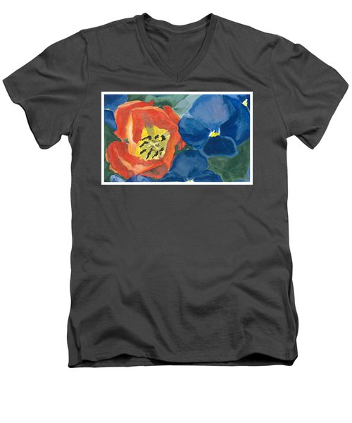 Men's V-Neck T-Shirt featuring the painting Cat Tulip by Joel Deutsch