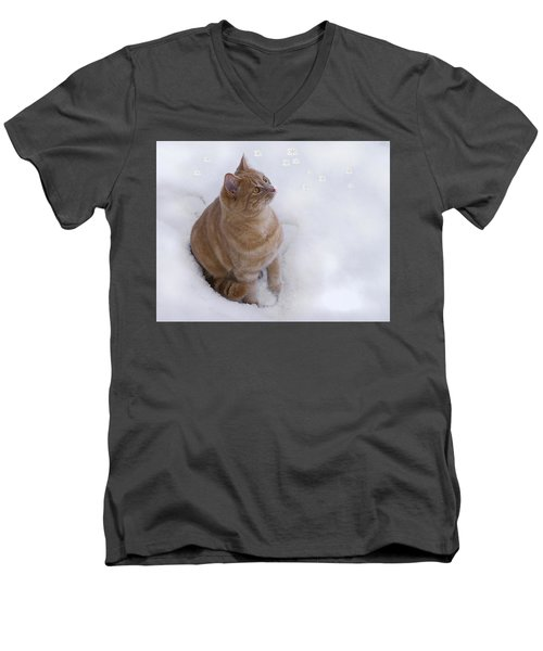 Cat With Snowflakes Men's V-Neck T-Shirt by Jacqi Elmslie