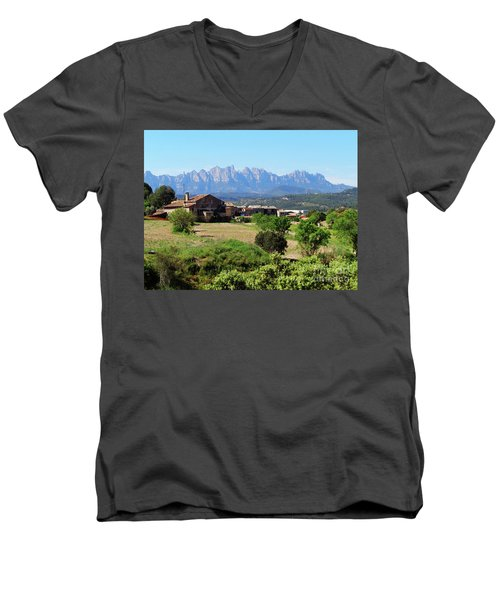 Catalan Landscape In Spring Men's V-Neck T-Shirt
