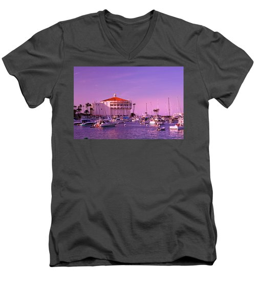 Catalina Casino Men's V-Neck T-Shirt by Marie Hicks