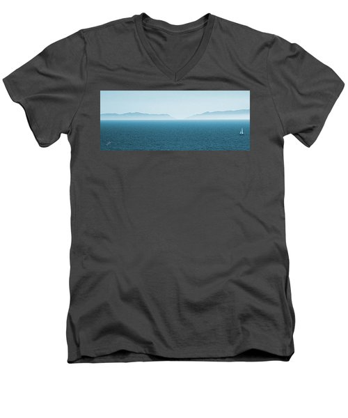 Catalina Island Large Panoramic Color Fine Art Print On Metal Men's V-Neck T-Shirt by Ben and Raisa Gertsberg