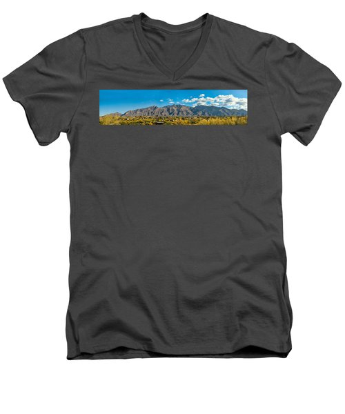 Men's V-Neck T-Shirt featuring the photograph Catalina Mountain Panorama by Dan McManus
