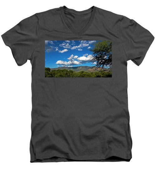 Men's V-Neck T-Shirt featuring the photograph Catalina Mountains H48 by Mark Myhaver