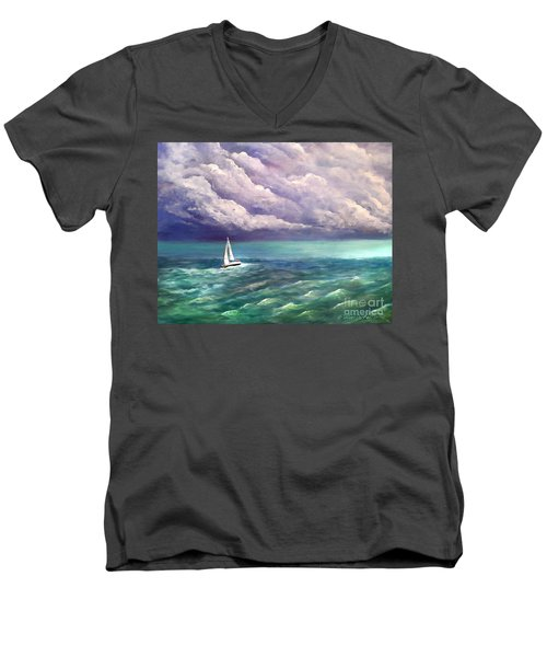 Men's V-Neck T-Shirt featuring the painting Tell The Storm by Patricia L Davidson