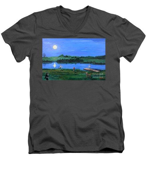 Catching Fireflies By Moonlight Men's V-Neck T-Shirt