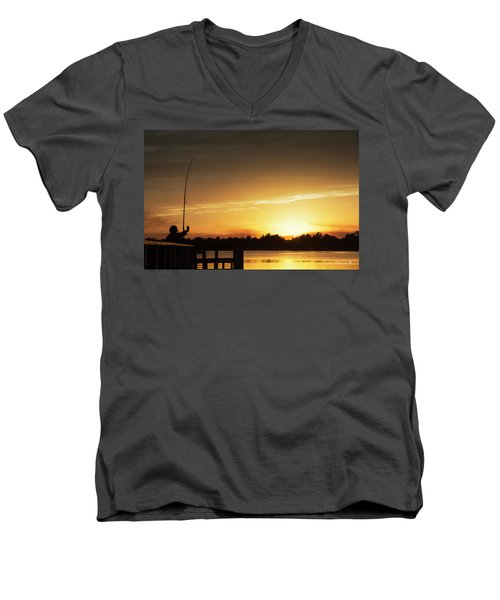Catching The Sunset Men's V-Neck T-Shirt by Phil Mancuso