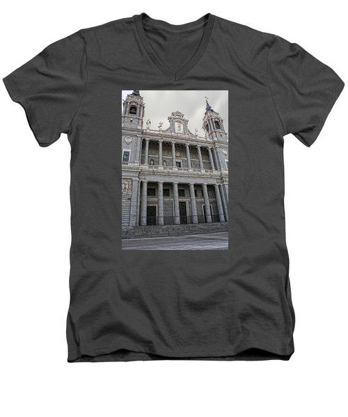 Men's V-Neck T-Shirt featuring the photograph Catedral De La Almudena 2 by Angel Jesus De la Fuente
