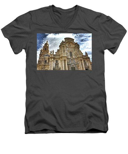 Men's V-Neck T-Shirt featuring the digital art Catedral De Murcia by Angel Jesus De la Fuente