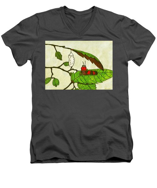 Caterpillar Whimsy Men's V-Neck T-Shirt by Wendy McKennon