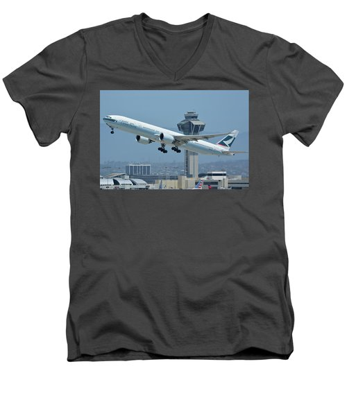 Men's V-Neck T-Shirt featuring the photograph Cathay Pacific Boeing 777-367er B-kph Los Angeles International Airport May 3 2016 by Brian Lockett
