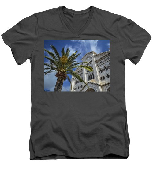 Men's V-Neck T-Shirt featuring the photograph Cathedral At Monte Carlo by Allen Sheffield
