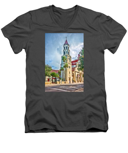 Men's V-Neck T-Shirt featuring the photograph Cathedral Basilica by Anthony Baatz