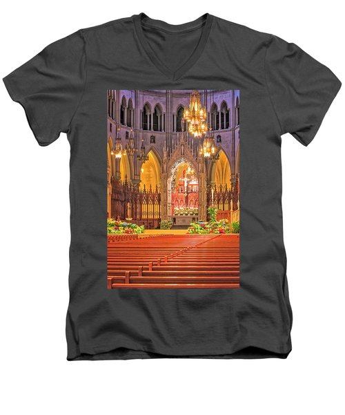 Men's V-Neck T-Shirt featuring the photograph Cathedral Basilica Of The Sacred Heart Newark Nj by Susan Candelario