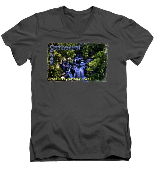 Cathedral Creek Cascade On The Tioga Pass Men's V-Neck T-Shirt by Roger Passman