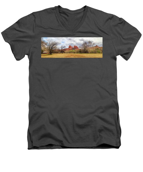 Men's V-Neck T-Shirt featuring the photograph Cathedral Rock Panorama by James Eddy