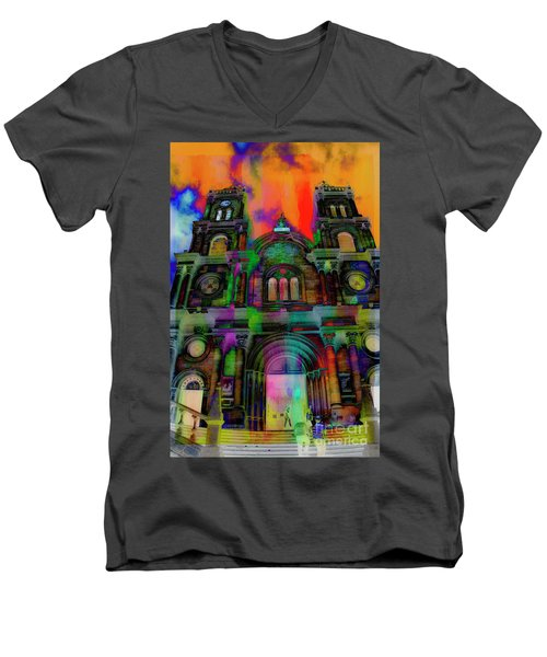 Men's V-Neck T-Shirt featuring the photograph Catholic Church At Chordeleg, Ecuador by Al Bourassa