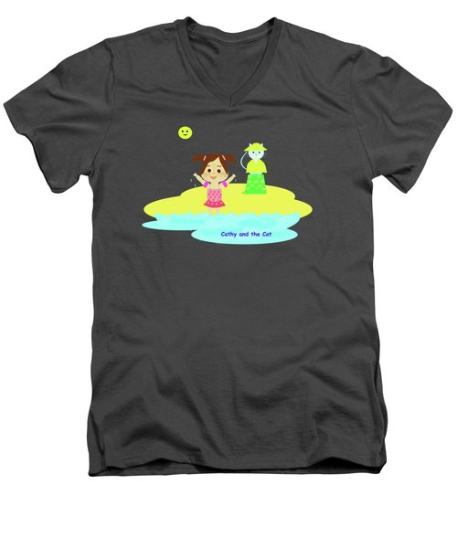 Cathy And The Cat And Fresh Water Men's V-Neck T-Shirt